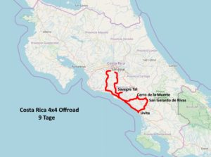 Map Costa Rica 9 days